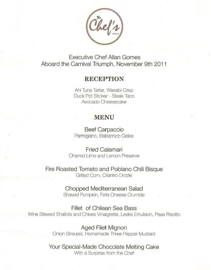 Carnival Cruise Lines - Chef's Table Menu